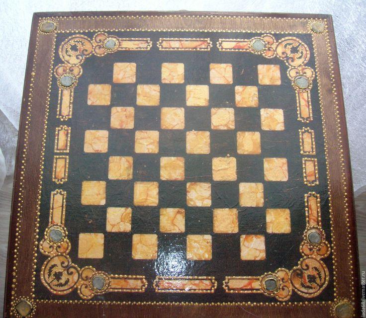 """Купить Шахматный столик """"Восточные сказки"""" - коричневый, столик для рукоделия, столик для ноутбука, столик журнальный"""