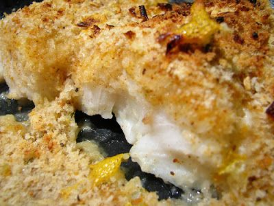 Tierney Tavern: Crispy Crunchy Oven-Baked Cod [a.k.a. baked fish and chips]  Use egg and lemon juice, but just sprinkle top with bread crumbs. Bake in toaster oven for 15 min @425 degrees