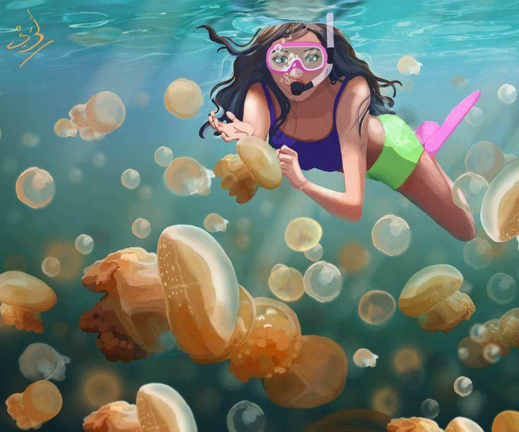 KAKABAN ISLAND. , jellyfish lake, east kalimantan indonesia.  #Holiday #digitalart #background #summer #painting #2D #aretarai