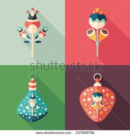 Colorful flowers and Christmas tree toys flat square icons. #flowericon #flowerillustration #flaticons #vectoricons #flatdesign