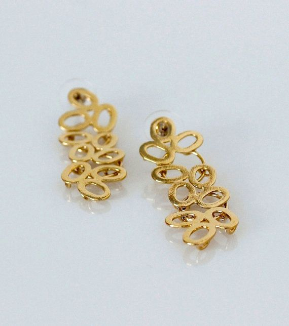 Gold Plated Earrings - Long Earrings - 24 kt Gold Plating -Floral- Bridal - Handmade - Fine Jewelry