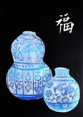 arteascuola: The Ming Vases. Scratch art - shades of blue oil pastel, white acrylic