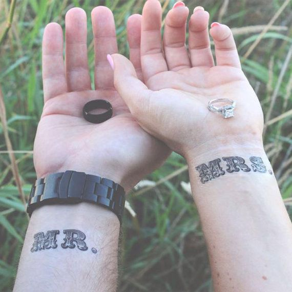 Mr. and Mrs. Temporary Tattoo, Wedding Tattoo- Mister and Misses