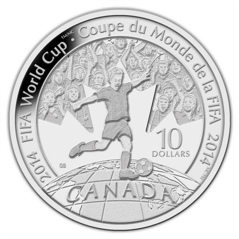 2014 FIFA World Cup Fine Silver Coin struck by the Royal Canadian Mint