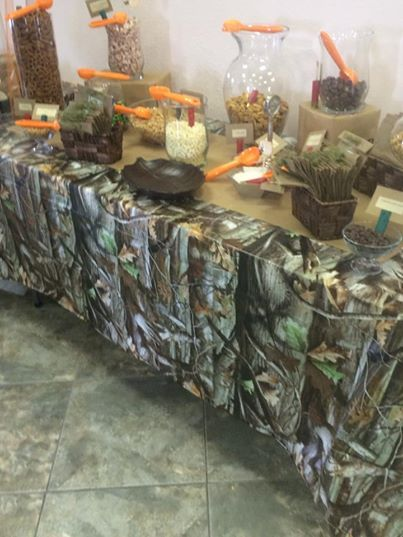 trail mix table for hunting or camo theme