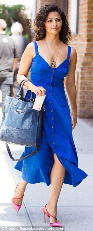 Camila Alves changes from sporty outfit to stylish blue dress in New York | Daily Mail Online