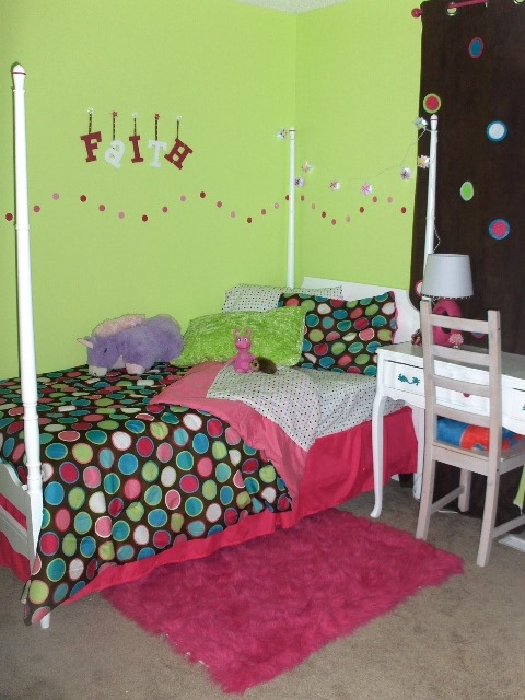 after the baby was big enough to move into the bunk beds with his older brother it was time to turn the nursey into a cool room that an 8 year old girl
