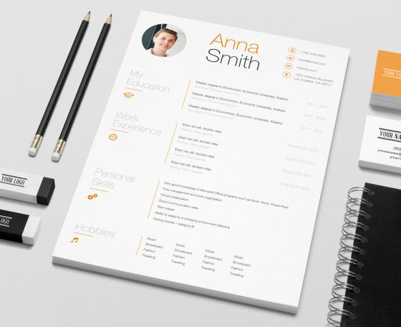 resume template no1 cover letter reference page business cards instant download creative microsoft word elegant minimalistic