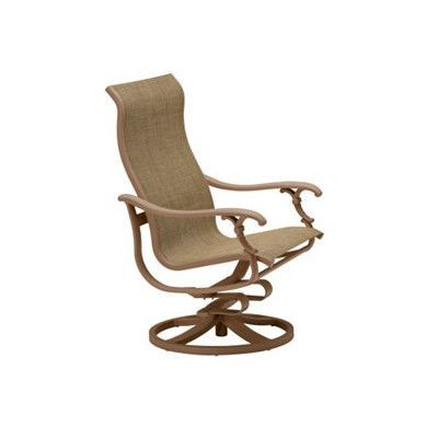 Tropitone Ravello Sling Swivel Action Lounger Rocking Chair Finish: Parchment, Fabric: Sparkling Water