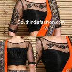 Boat Neck Net Embroidered Blouse