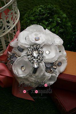 Brooch bouquet/ mixed media bouquet Purple $485 www.nansbuttonboxbouquets.com.au