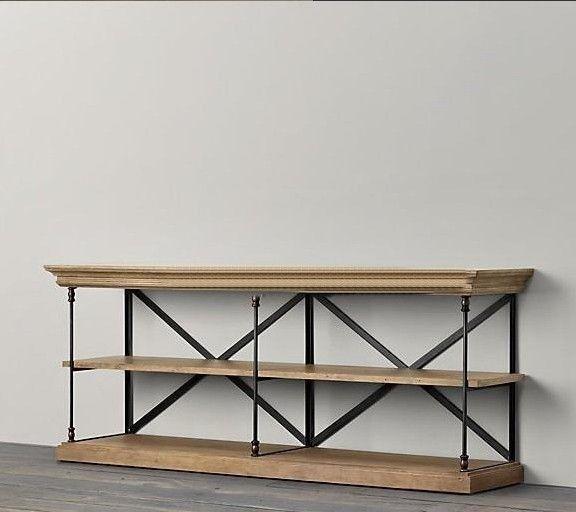 Vintage de hierro forjado consola mueble tv madera maciza for Muebles para tv vintage