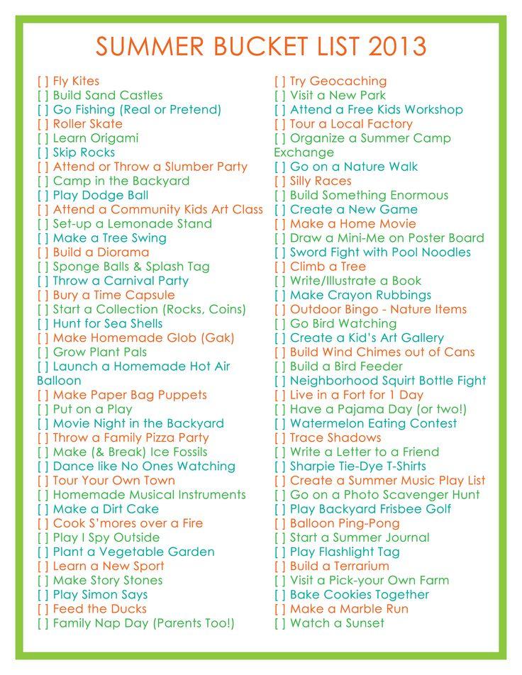 Summer Bucket List for Kids 2013