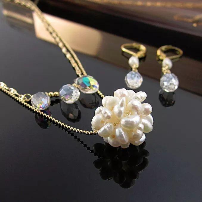 Collar cadena perlas cultivadas perlas de agua y cristal cadena oro goldfilled