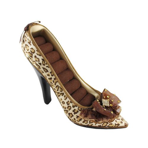 "Pin-Up Cheetah Shoe Ring Holder 5.5""""""""X4""""""""X2"""""""" Gold"