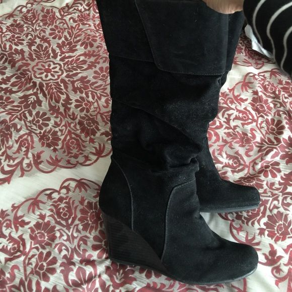 Black suede wedge boots Pull on wedge boot with fold over at top and some slouching SO Shoes Heeled Boots