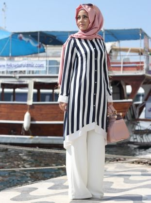 Çizgili Tunik - Lacivert&Beyaz - Pınar Şems