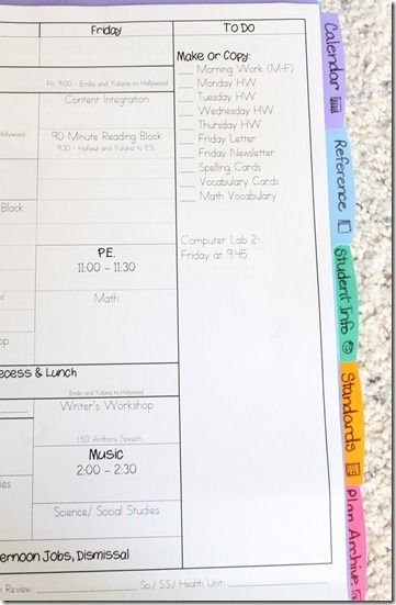 "great idea to use a standard list of what to ""make or copy"" each week!  how to create a teacher binder ~ luckeyfrog's lilypad"