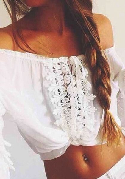 Bohemian Fashion: This summer, let this bohemian lace crop top be your new best friend. Cut in delicate floral lace hem with long bell sleeves, an off shoulder neckline, and straps at the front. Achieve a boho look by pairing it with a maxi skirt or a pair of cutoffs and boots.