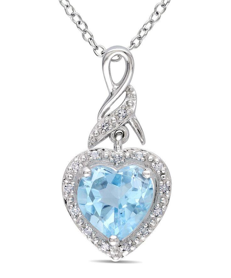 Sky Blue Topaz & Diamond Heart Pendant Necklace