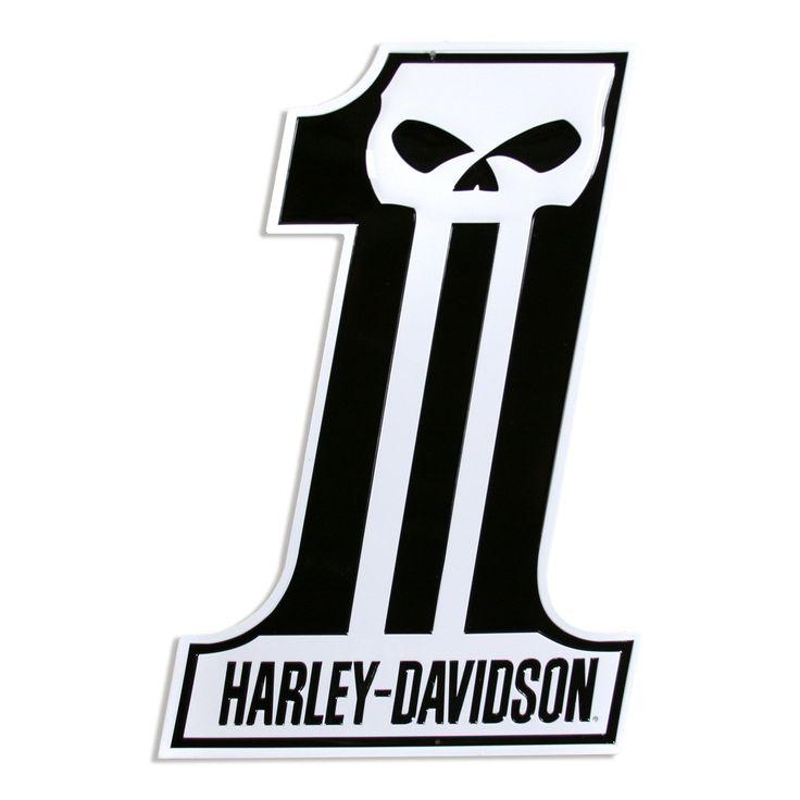 Harley-Davidson Number One Skull Sign Die Cut   Tin Garage Signs…