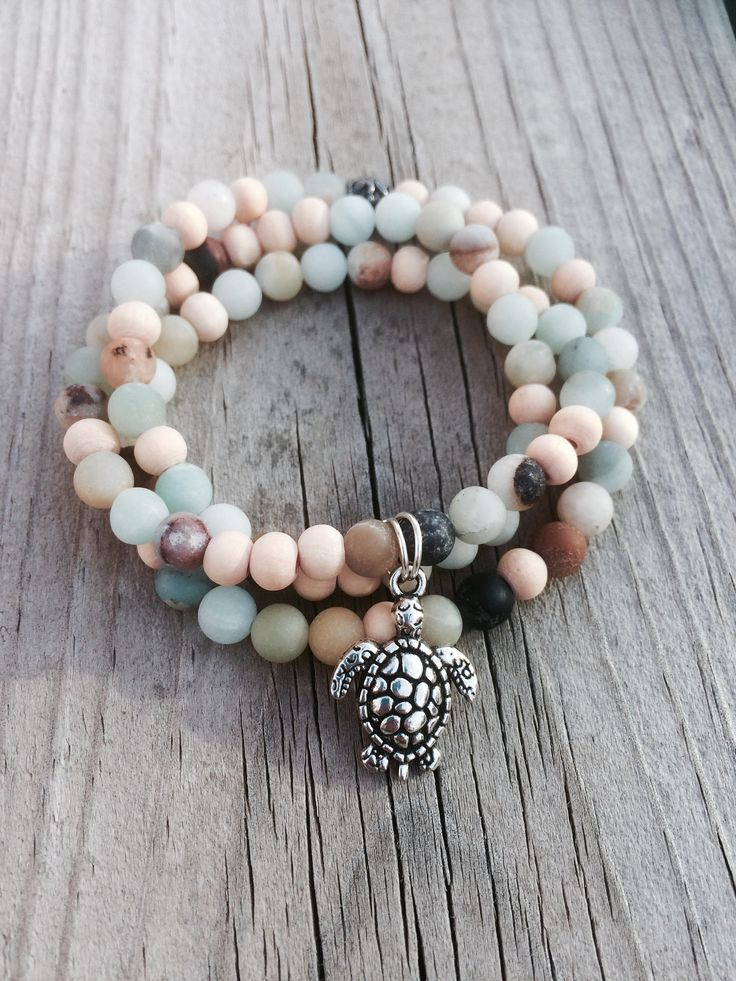 Amazonite and Wood Charm Healing Essential Oil Aromatherapy Bracelet by LavaSense on Etsy