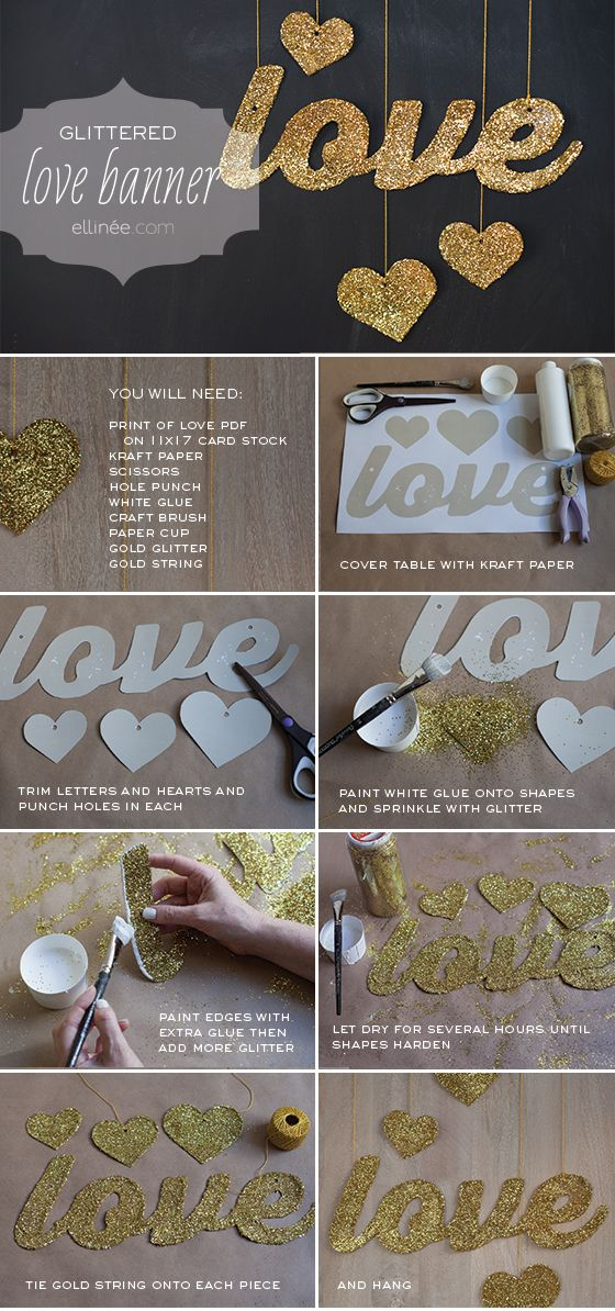 DIY Glittered Love Banner. Comes with a free printable PDF Template! Perfect!