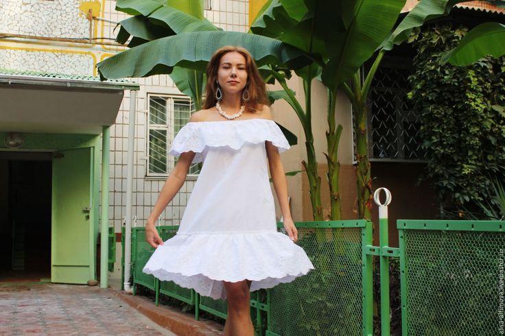 """Купить Нарядное платье """"Белоснежное"""" хлопок-ришелье - белый, однотонный, Бохо платье, нарядное платье"""