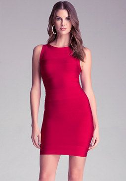 bebe Crew Neck Bandage Dress