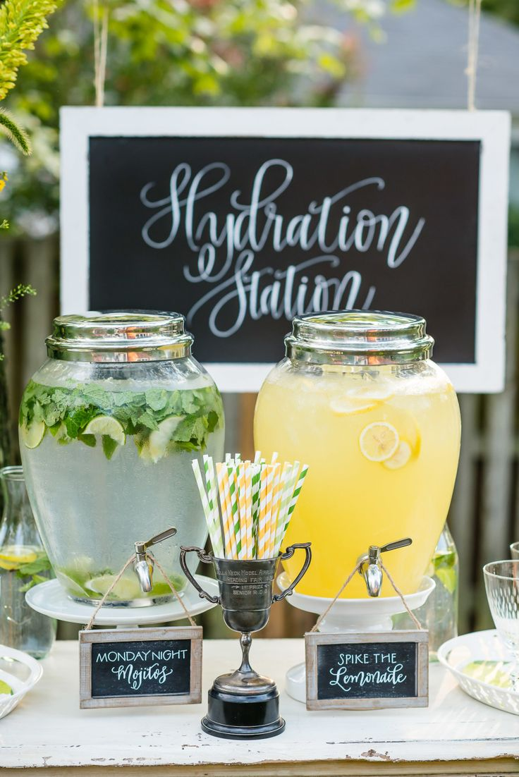 Hydration drink station for your Fantasy Football Draft by Kelley Cannon Events & Bellwether Events. Calligraphy by Meant to be Calligraphy. Photography: Michelle Lindsay - michellelindsayphotography.com