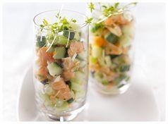 Gerookte zalmtartaar met komkommer | Xenos