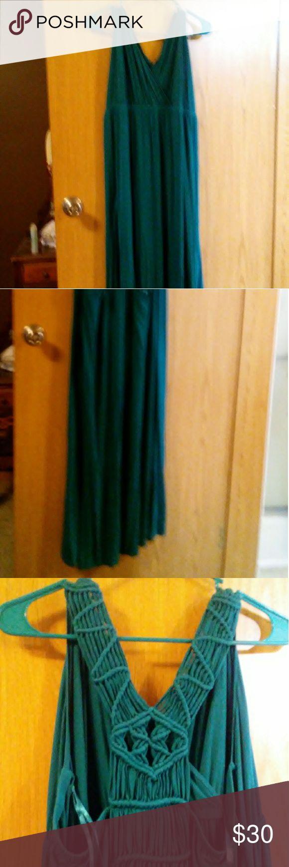 Lane Bryant teal maxi dress Lane Bryant teal maxi dress with rope work back. Lane Bryant Dresses Maxi