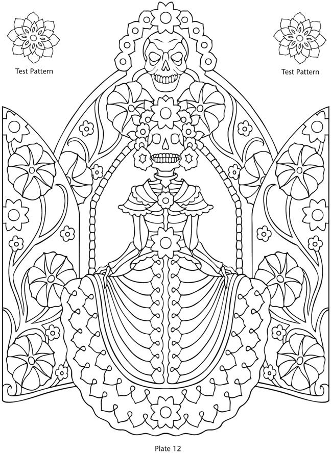 Day of the Dead Colouring Pages from Dover