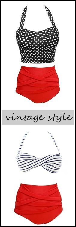 Vintage Style swimsuits. High wasted. aff