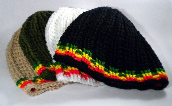 Rasta hat, dreadlock hat with red gold green stripes, crochet for men and women, jamaica hat, jamaica beanie, skull beanie, dreadlock accessories, rasta accessories, rasta clothing, rasta tam, dread tam, dancehall style, warm hat, winter rasta hat, dreadlock cover, any color by MultiKultiCrafts