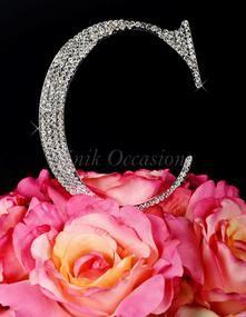 Unik Occasions - Large Silver Unik Occasions Crystal Rhinestone Wedding Cake Topper - Letter C