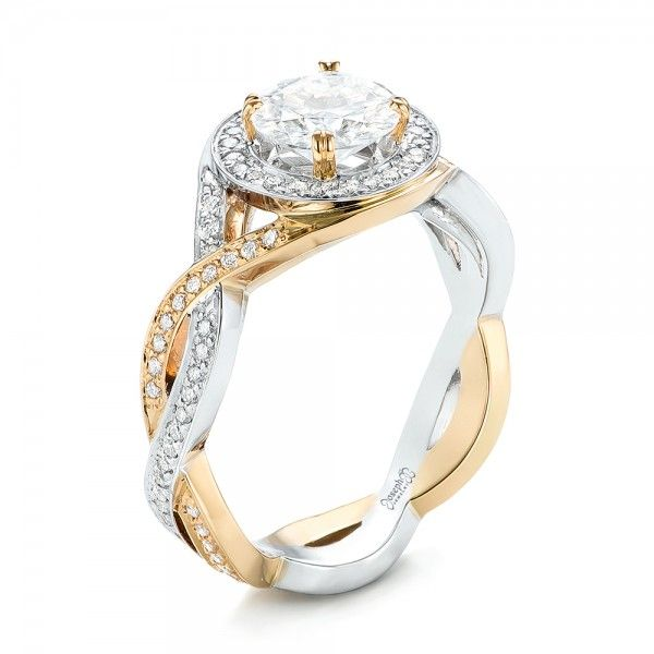 Custom Two Tone Diamond Halo Engagement Ring