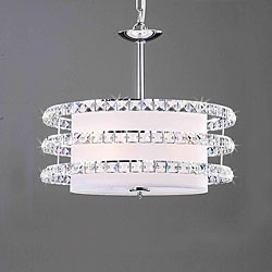 Update any space with an elegant chandelier  Light fixture measures 18 inches wide x 16 inches high  Pendent light has a chrome fixture and white shade