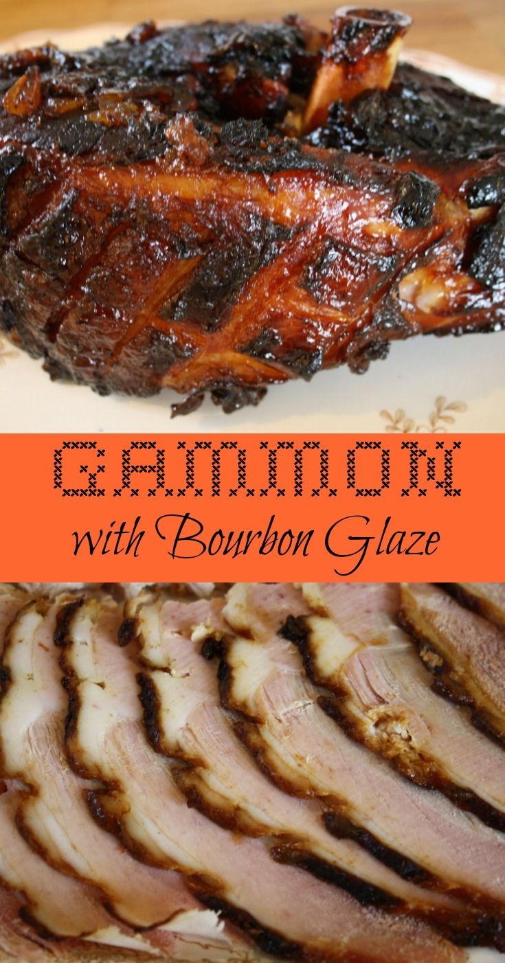 Gammon with Bourbon Ginger Glaze. Unsmoked gammon is first simmered then roasted with a sticky glaze of crushed pineapple, Bourbon and ginger marmalade.
