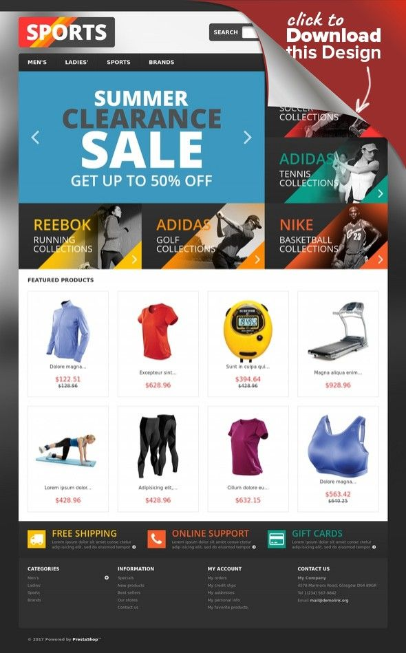 Responsive Sports Store PrestaShop Theme E-commerce Templates, PrestaShop Themes, Sports, Outdoors & Travel, Sport Templates, Sports Store Templates