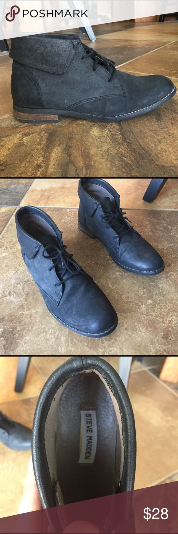 Steve Madden Black Lace Up Booties Worn two times. Look so cute with rolled up jeans or tucked in too. 😊 Steve Madden Shoes Ankle Boots & Booties