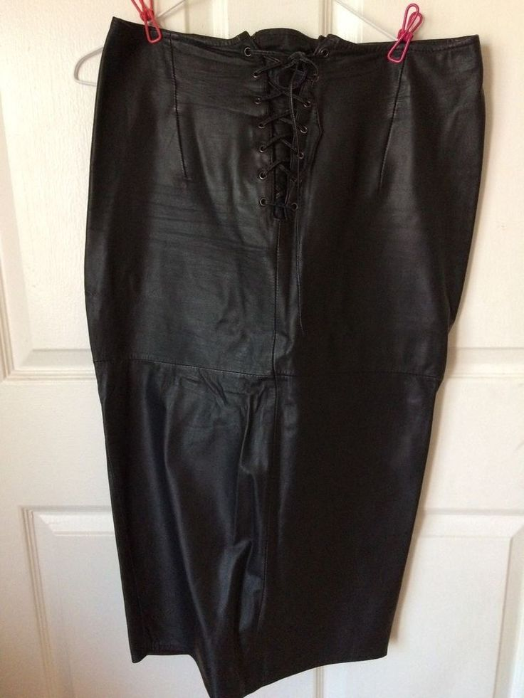 Vintage GIII High Waisted Authentic Leather Lace Up Skirt Fitted Full Zip Black #GIII #HighWaist