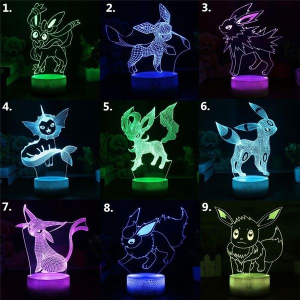 Pokemon Eevee Family Series Remote 3d Lamp Creative Night Lights Usb Led Home Decoration Table Lamp Child S Gift Colorful Table 3d Night Light Led Night Light