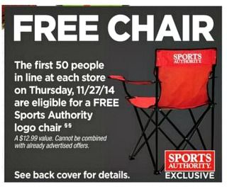 Watch summer sports in comfort with a FREE chair from Sports Authority. The first 50 people in line #Thanksgiving Day, November 27th, receive a free folding chair.