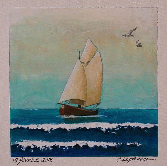Sailboat painting sailing boat image seascape blue & beige