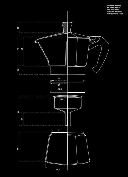 anatomy of a moka pot // engineering drawings made into art! love this…