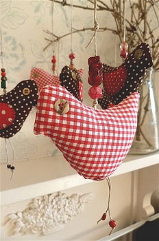 fabric christmas bird ornament