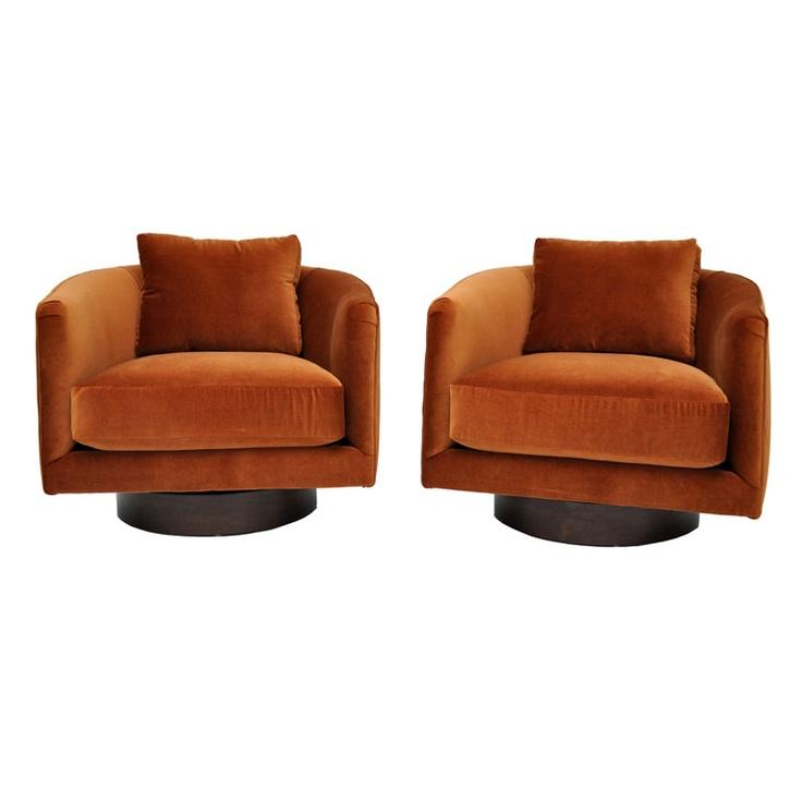 Superior Milo Baughman Swivel Lounge Chairs