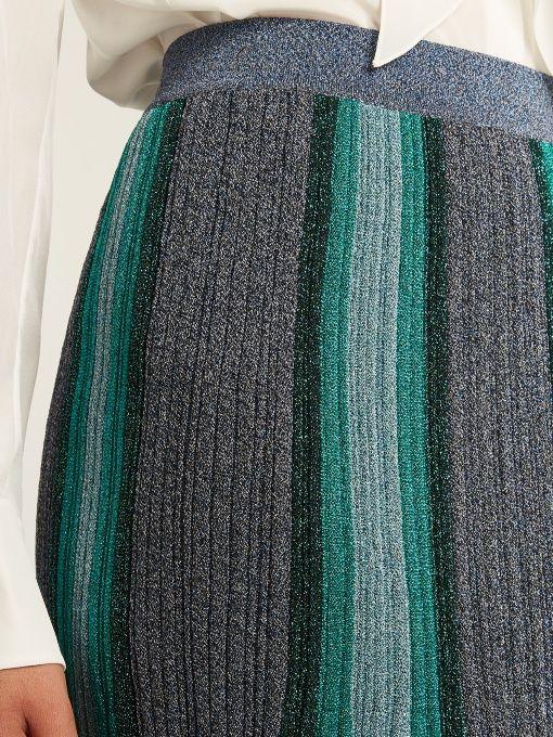 Missoni Striped pleated knit midi skirt