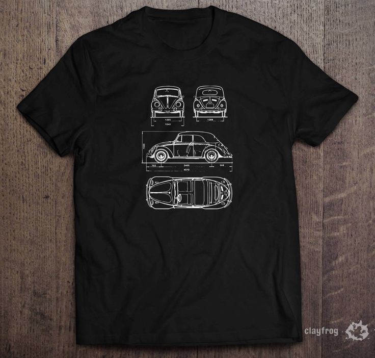 VW Blueprints / Novelty Themed Mens Black T-Shirt by Clayfrogs on Etsy